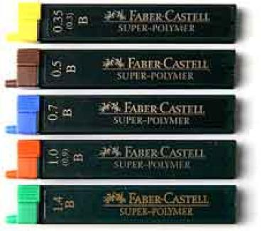 FABER-CASTELL Feinminen 1,4 mm B Druckbleistift-Minen SUPER-POLYMER Fallminen
